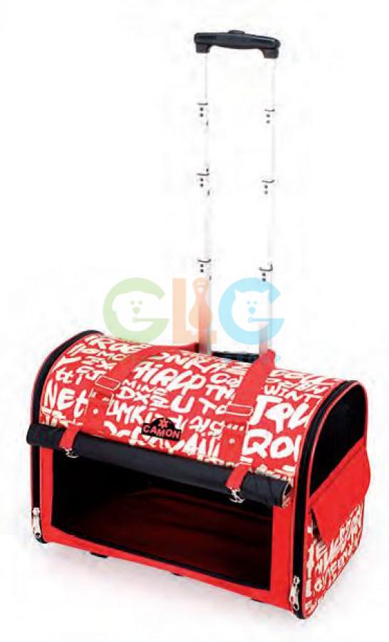 Стильная дорожная сумка-тележка на колесиках для перевозки животных.