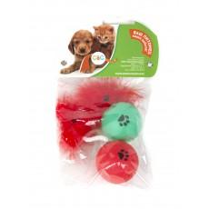 Игр д/к мячик с хвостиком и с пером гремящий,размер 4см.(2шт/уп)