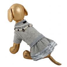 Платье велюр с бусами юбка 3 яруса