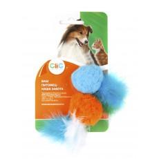 Игр д/к мячик плюш с перышками 4 см (2шт/уп)