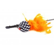 Дразнилка-Удочка д/к Полосатый шарик с перьями 60см