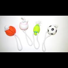 Мяч резиновый мягкий на веревке х/б 7 см со звуком, шт