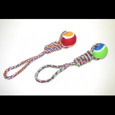 Мяч резина жесткий 8 см на веревке х/б с большим узлом, шт